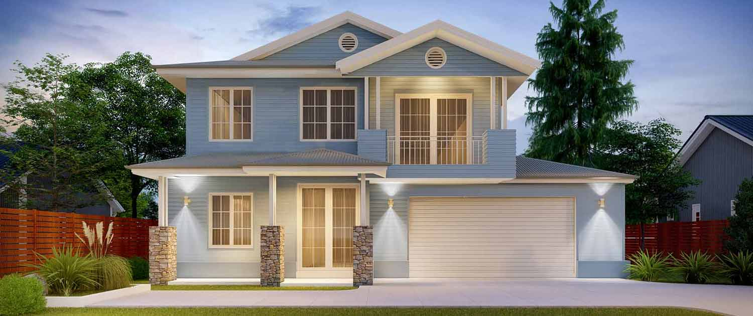 Large blue two storey home with pillars