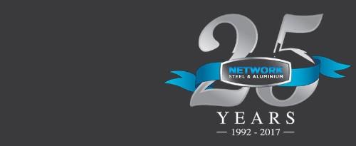 Network steel and aluminum logo
