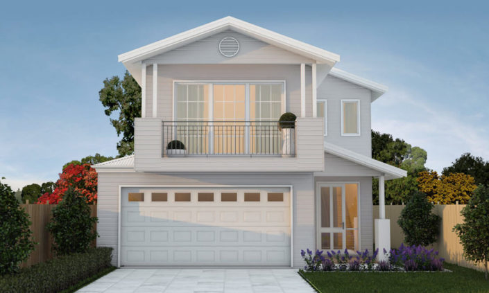 Modern white two storey home with garden