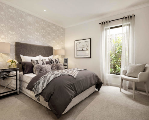 bedroom with a black and white theme