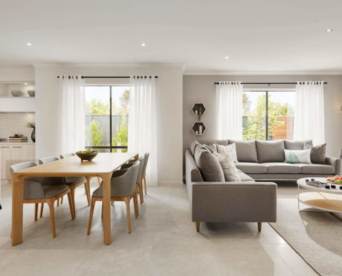 living area with white floors