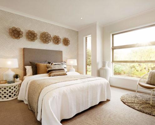 bedroom with wide windows