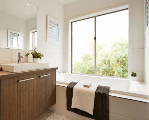 bathroom with outdoor view