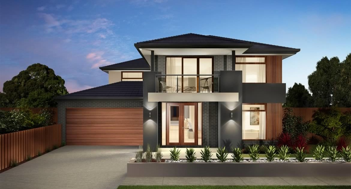 Grey two storey home with brown garage and door