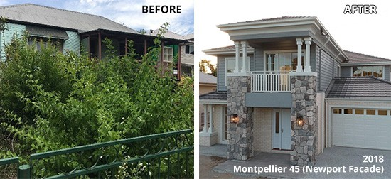 before and after photo of montpellier home
