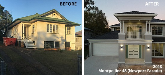 Steps to knockdown and rebuild in Newport - before and after
