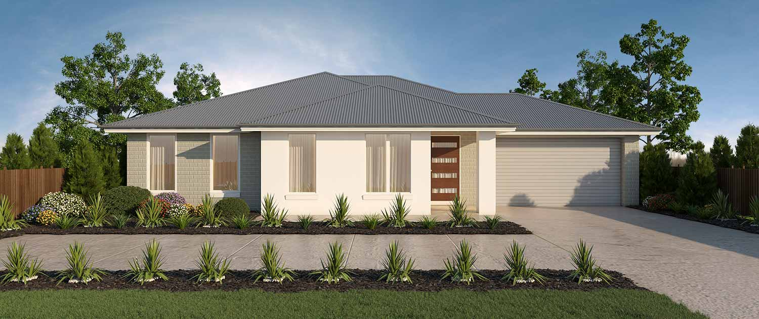 Modern one storey home with grey roof