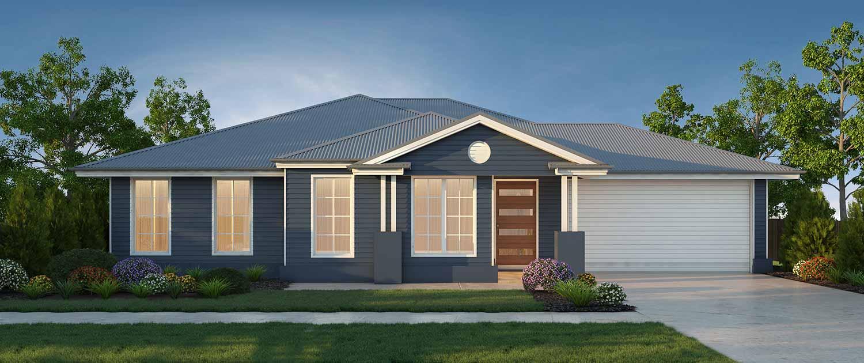 One storey blue home with brown door
