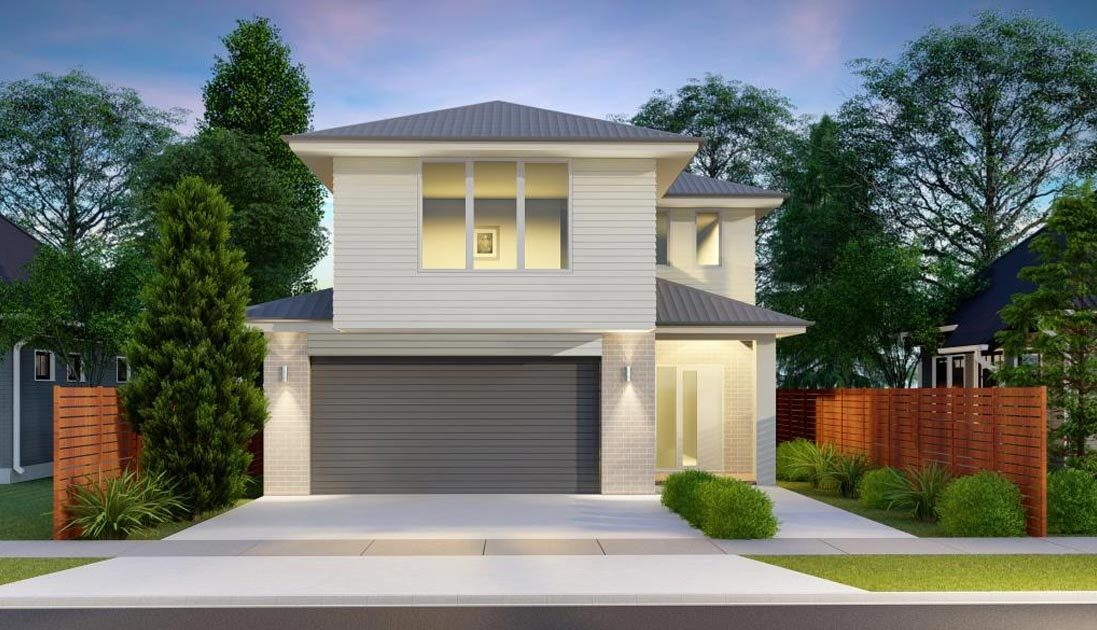 Two storey white house with grey garage