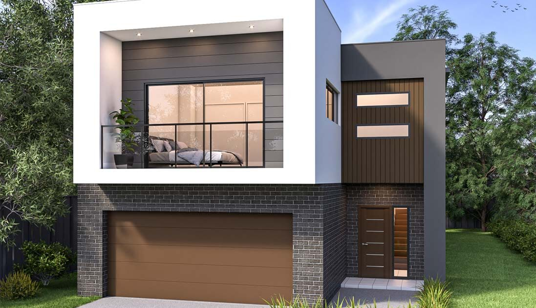 Modern box home with brown garage