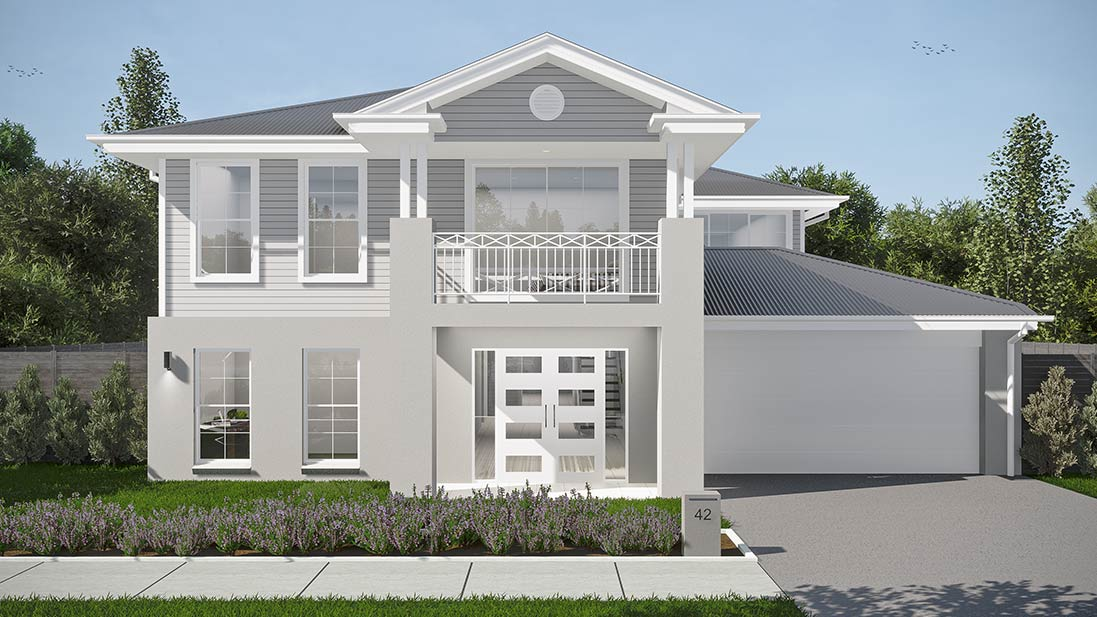 Image from outside a big spacious modern House