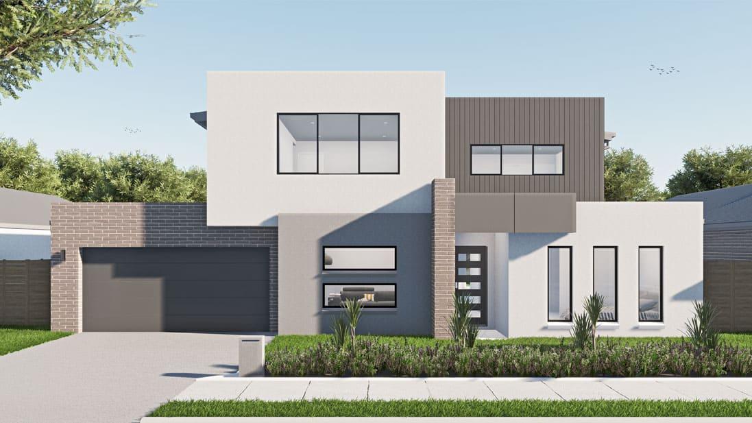 Large rectangular home against blue sky